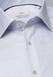 ETERNA LONG SLEEVE SHIRT COMFORT FIT TWILL LIGHT BLUE / WHITE STRUCTURED