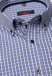 ETERNA HALF SLEEVE SHIRT MODERN FIT POPLIN BLUE / BEIGE CHECKED