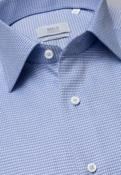 ETERNA LONG SLEEVE SHIRT COMFORT FIT FANCY WEAVE BLUE/WHITE STRUCTURED