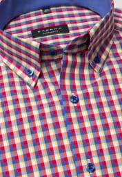 ETERNA HALF SLEEVE SHIRT COMFORT FIT POPLIN RED/YELLOW/BLUE CHECKED