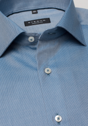 ETERNA LONG SLEEVE SHIRT COMFORT FIT TWILL TURQUOISE STRUCTURED