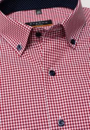 ETERNA LONG SLEEVE SHIRT SLIM FIT POPLIN RED CHECKED