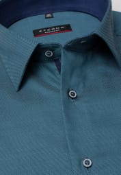 ETERNA LONG SLEEVE SHIRT MODERN FIT FANCY WEAVE TURQUOISE STRUCTURED