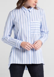 LONG SLEEVE BLOUSE 1863 BY ETERNA - PREMIUM POPLIN LIGHT BLUE / WHITE STRIPED