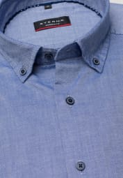 ETERNA HALF SLEEVE SHIRT MODERN FIT OXFORD JEANS BLUE UNI