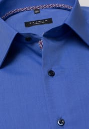 ETERNA LONG SLEEVE SHIRT COMFORT FIT FIL À FIL BLUE UNI
