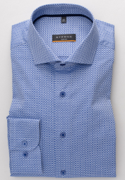 ETERNA LONG SLEEVE SHIRT SLIM FIT TWILL BLUE/WHITE STRUCTURED