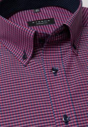 ETERNA HALF SLEEVE SHIRT COMFORT FIT POPLIN RED/BLUE CHECKED