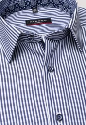 ETERNA LONG SLEEVE SHIRT MODERN FIT TWILL NAVY / WHITE STRIPED