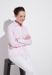 ETERNA LONG SLEEVE BLOUSE MODERN CLASSIC STRETCH ROSE / WHITE STRIPED
