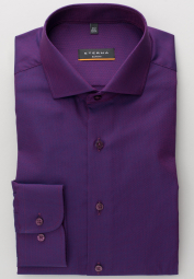 ETERNA LONG SLEEVE SHIRT SLIM FIT FANCY WEAVE AUBERGINE STRUCTURED