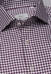 ETERNA LONG SLEEVE SHIRT MODERN FIT TWILL WINE RED / WHITE STRUCTURED