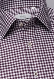 ETERNA LONG SLEEVE SHIRT COMFORT FIT TWILL WINE RED / WHITE STRUCTURED