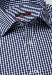 ETERNA HALF SLEEVE SHIRT MODERN FIT POPLIN NAVY / WHITE CHECKED