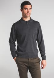 ETERNA KNIT SWEATER WITH POLO NECK ANTHRACITE UNI