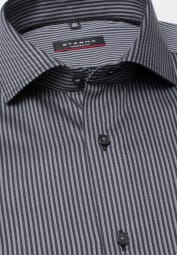 ETERNA LONG SLEEVE SHIRT MODERN FIT FANCY WEAVE BLACK / GREY STRIPED