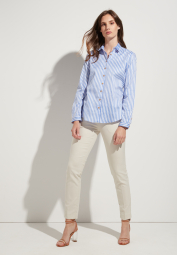 ETERNA LONG SLEEVE BLOUSE MODERN CLASSIC LIGHT BLUE / CURRY / WHITE STRIPED