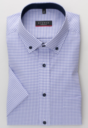 ETERNA HALF SLEEVE SHIRT MODERN FIT POPLIN PURPLE CHECKED