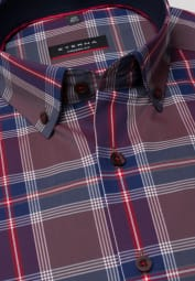 ETERNA LONG SLEEVE SHIRT MODERN FIT POPLIN RED / NAVY CHECKED