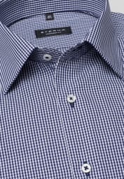 ETERNA LONG SLEEVE SHIRT COMFORT FIT POPLIN DARK BLUE CHECKED