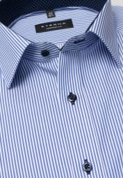 ETERNA LONG SLEEVE SHIRT COMFORT FIT TWILL LIGHT BLUE / WHITE STRIPED