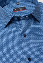 ETERNA HALF SLEEVE SHIRT MODERN FIT POPLIN BLUE PRINTED