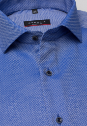 ETERNA HALF SLEEVE SHIRT MODERN FIT BLUE STRUCTURED