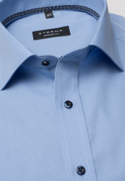 ETERNA HALF SLEEVE SHIRT COMFORT FIT POPLIN BLUE CHECKED