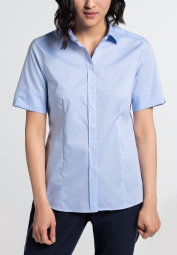 ETERNA HALF SLEEVE BLOUSE MODERN CLASSIC STRETCH LIGHT BLUE UNI