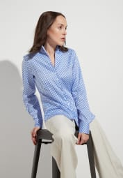 ETERNA LONG SLEEVE BLOUSE MODERN CLASSIC LIGHT BLUE / WHITE PRINTED