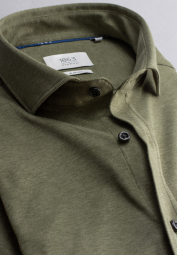 ETERNA HALF SLEEVE SHIRT SLIM FIT SOFT TAILORING JERSEY MOSS GREEN UNI