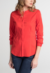 ETERNA LONG SLEEVE BLOUSE SLIM FIT STRETCH ORANGE RED UNI
