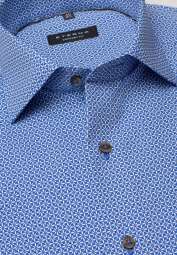 ETERNA LONG SLEEVE SHIRT COMFORT FIT POPLIN BLUE PRINTED