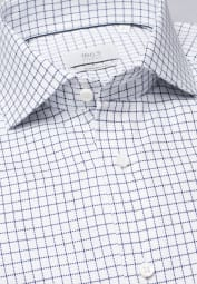 ETERNA LONG SLEEVE SHIRT MODERN FIT FANCY WEAVE NAVY / WHITE CHECKED