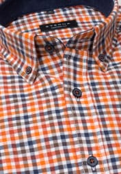ETERNA LONG SLEEVE SHIRT COMFORT FIT FLANEL ORANGE / BLACK CHECKED