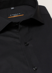 ETERNA LONG SLEEVE SHIRT SLIM FIT STRETCH BLACK UNI