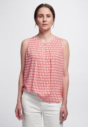 ETERNA WITHOUT SLEEVES BLOUSE MODERN CLASSIC ORANGE RED / WHITE
