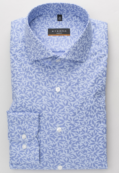 ETERNA LONG SLEEVE SHIRT SLIM FIT POPLIN BLUE / LIGHT BLUE PRINTED