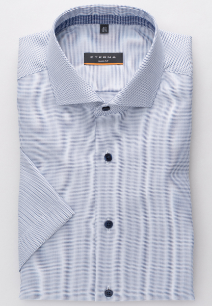 ETERNA HALF SLEEVE SHIRT SLIM FIT TWILL BLUE/WHITE STRUCTURED