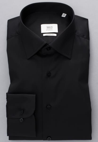 ETERNA LONG SLEEVE SHIRT COMFORT FIT TWILL BLACK UNI