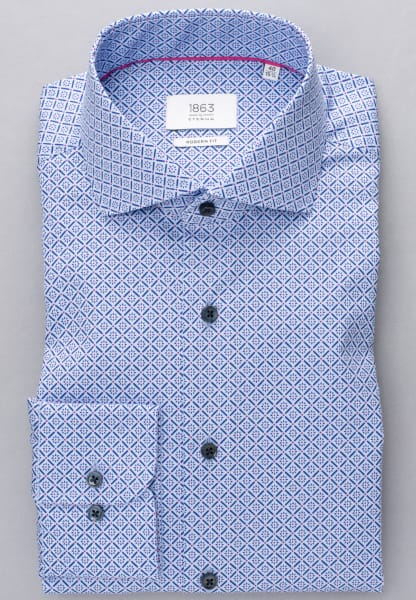 ETERNA LONG SLEEVE SHIRT MODERN FIT TWILL LIGHT BLUE PRINTED