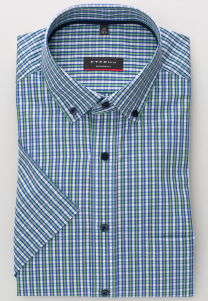 ETERNA HALF SLEEVE SHIRT MODERN FIT POPLIN GREEN/BLUE CHECKED