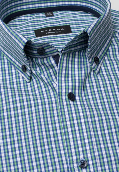 ETERNA HALF SLEEVE SHIRT COMFORT FIT POPLIN GREEN/BLUE CHECKED