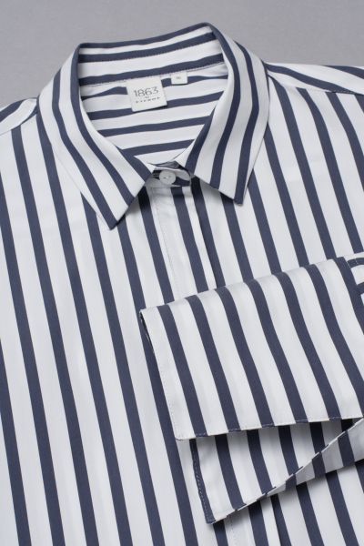 3/4 SLEEVE SHIRTDRESS 1863 BY ETERNA - PREMIUM STRETCH NAVY / WHITE STRIPED