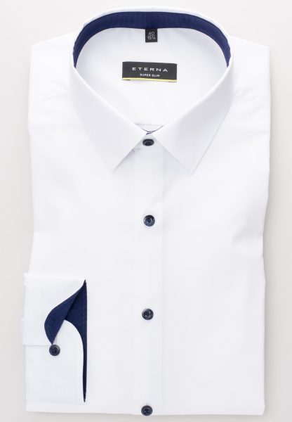 ETERNA LONG SLEEVE SHIRT SUPER-SLIM STRETCH WHITE<BR> UNI