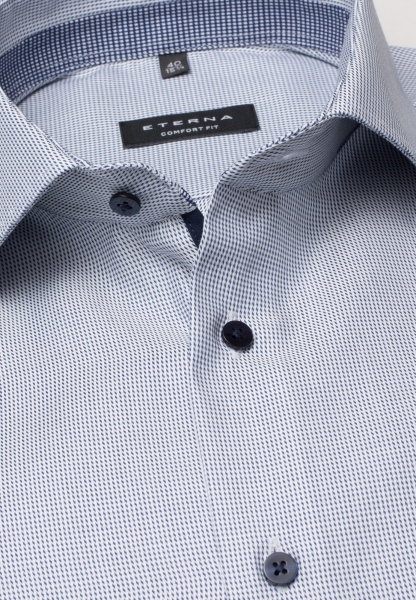 ETERNA LONG SLEEVE SHIRT COMFORT FIT TWILL BLUE/WHITE STRUCTURED