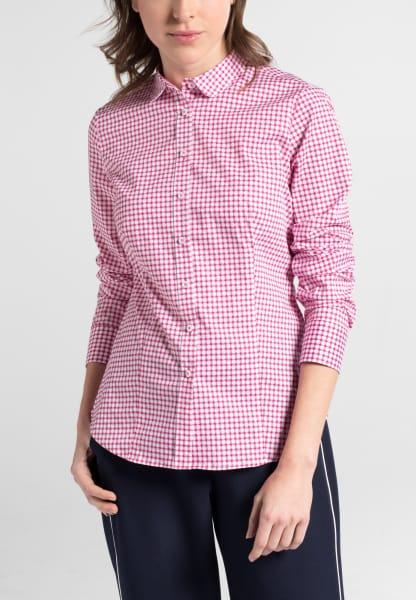 ETERNA LONG SLEEVE BLOUSE SLIM FIT STRETCH PINK/WHITE PRINTED
