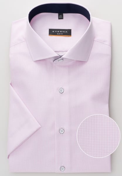 ETERNA HALF SLEEVE SHIRT SLIM FIT POPLIN ROSE CHECKED