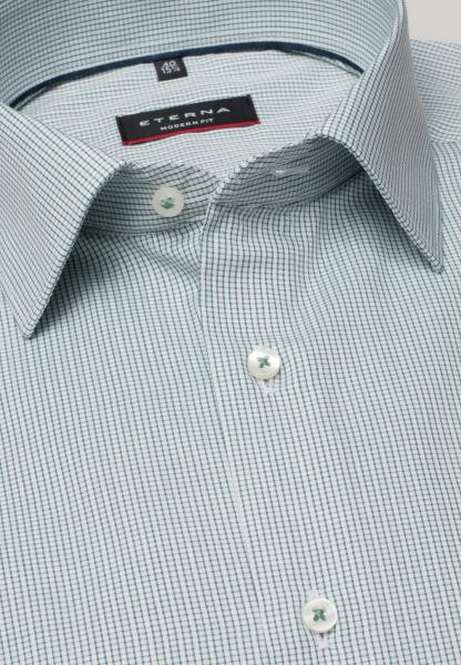 ETERNA LONG SLEEVE SHIRT MODERN FIT TEXTURED WEAVE GREEN/WHITE CHECKED