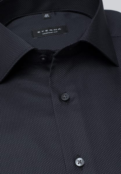ETERNA LONG SLEEVE SHIRT COMFORT FIT FANCY WEAVE ANTHRACITE STRUCTURED